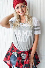 Game Day Baseball Tee - grey, CLOTHING, BAD HABIT APPAREL, BAD HABIT BOUTIQUE