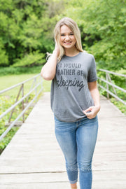 Rather Be Sleeping Tee - grey