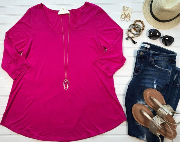 Curvy Girl 3/4 Sleeve Top-Fuchsia, SALE, Chris & Carol, badhabitboutique