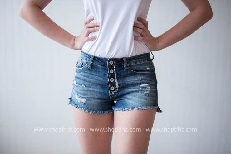 Button Fly Denim Shorts, SALE, vendor-unknown, badhabitboutique