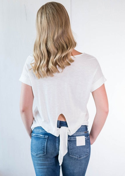 Round Neck Top w/ Back Tie | Ivory