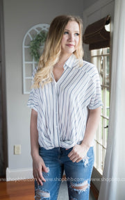 Stripe Button Down w/ Twist Bottom Details | Ivory