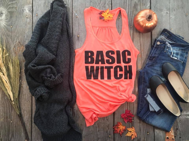 Basic Witch Graphic Tank | Orange, HALLOWEEN, BAD HABIT APPAREL, BAD HABIT BOUTIQUE, Basic Witch