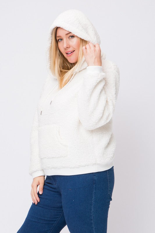This Curvy Girl Sherpa Pullover is truly the softest hoodie ever.