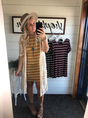 ruffled sleeve striped relaxed fit dress