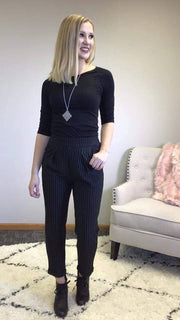 These black pinstripe dress slacks are amazingly comfortable yet stylish!
