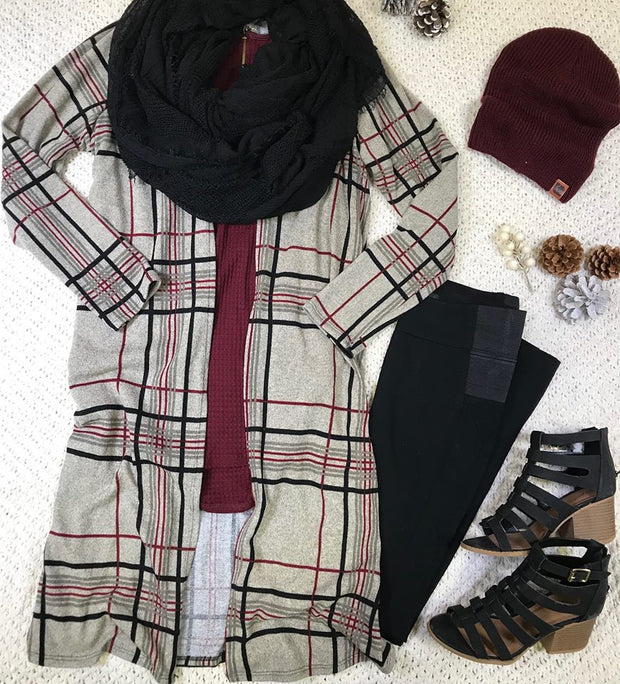 Style It Up- Oatmeal Plaid Duster