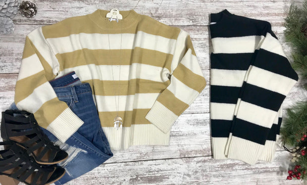 This Striped sweater is the perfect sweater for those girls who love chunky stripes through the whole sweater.