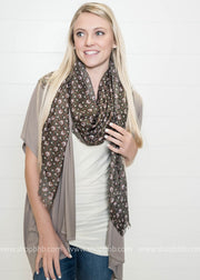 The Harvest Print Frayed Scarf- lightweight