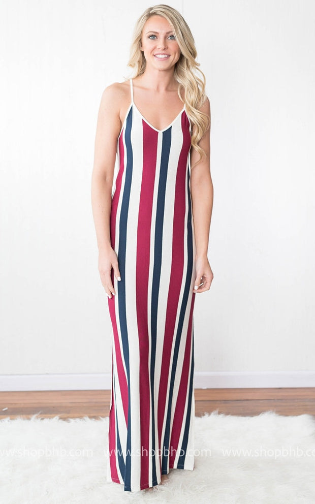 Striped Spaghetti Maxi Free | Navy