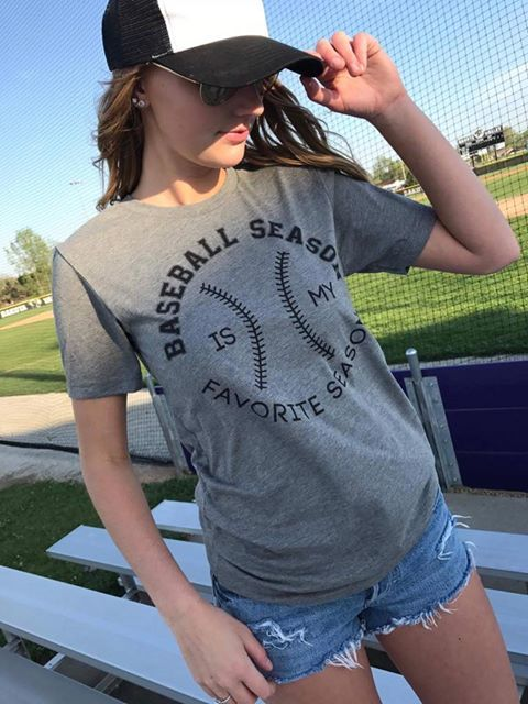 Baseball Season is my Favorite Season Gray Basic Tshirt, BASEBALL, GRAPHICS, BAD HABIT BOUTIQUE