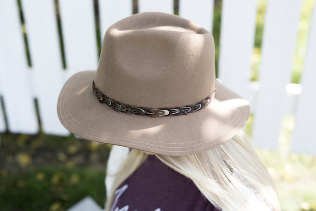 Adora with Feather Trim Hat | Pecan, HATS, Olive & Oique, BAD HABIT BOUTIQUE