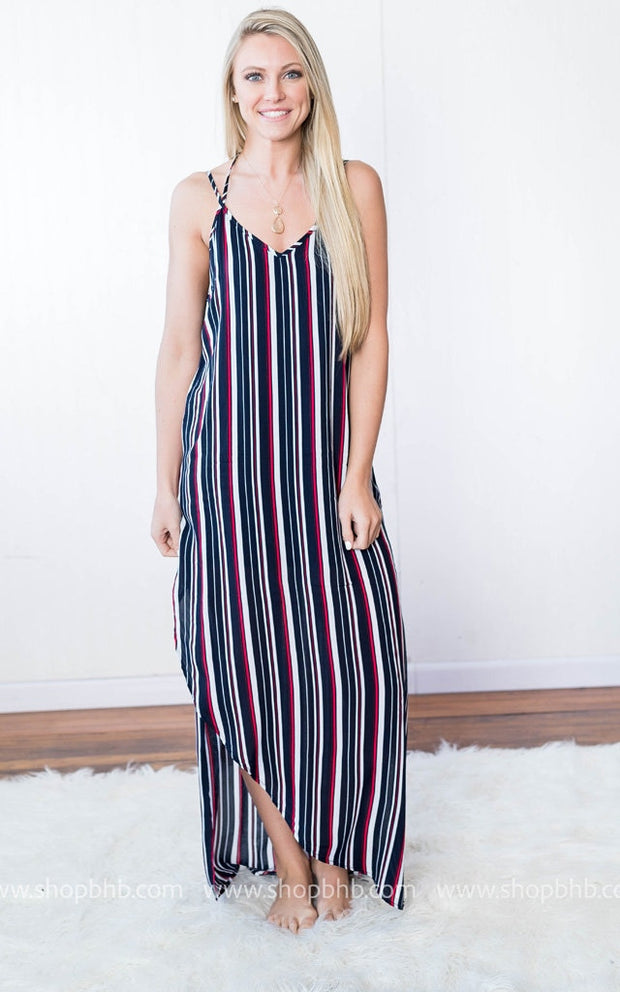 Striped Maxi Dress | Navy