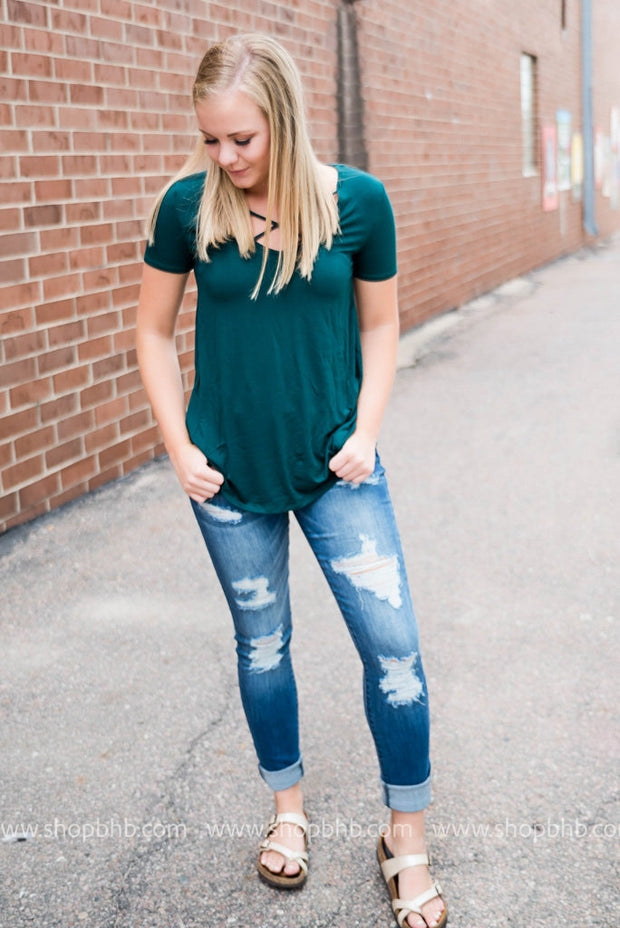 Fall Criss Cross Tees, SALE, Lime -n-Chili, badhabitboutique