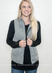 Herringbone Padded Vest | Black, VESTS, Staccato, badhabitboutique