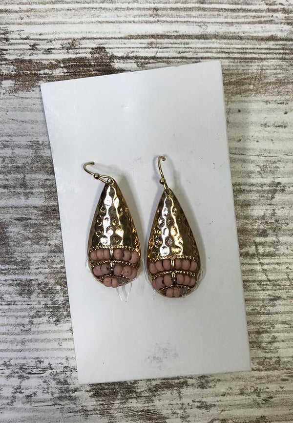 Pink Beaded Gold Teardrop Earring, JEWERLY, BAD HABIT BOUTIQUE, BAD HABIT BOUTIQUE