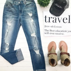 Distressed Ankle Jean, DENIM, Kan Can, badhabitboutique