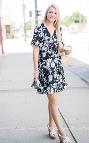 Floral Wrap Dress | Black, SALE, Fun2Fun, badhabitboutique
