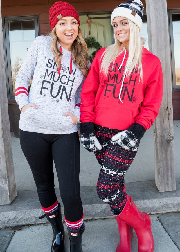 Snow Much Fun Red Hoodie , winter hoodie, hoodie, hoodies, snow much fun top, plus size clothing, plus size hoodie