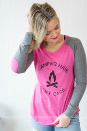 Camp Hair Dont Care Elbow Patch Top, CAMP, GRAPHICS, BAD HABIT BOUTIQUE
