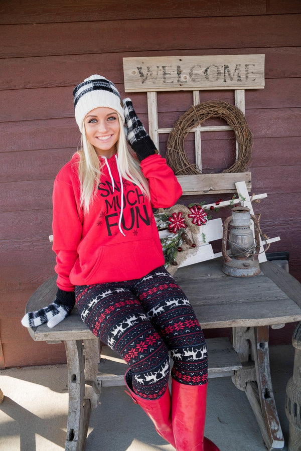 Snow Much Fun Red Hoodie - BAD HABIT BOUTIQUE