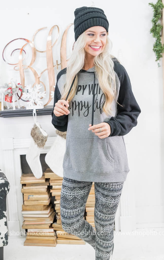Happy Wife 2-Tone Hoodie, MOM COLLECTION, BAD HABIT APPAREL, badhabitboutique