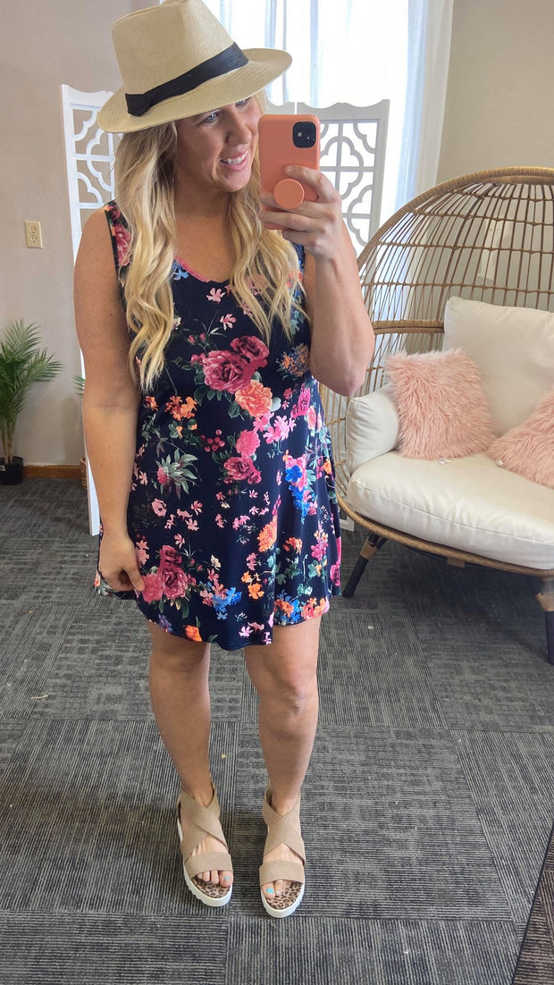 Navy Floral Sleeveless Swing Dress, CLOTHING, Heimish, BAD HABIT BOUTIQUE