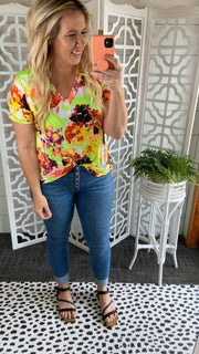 Blossoming Floral Tie Front Top
