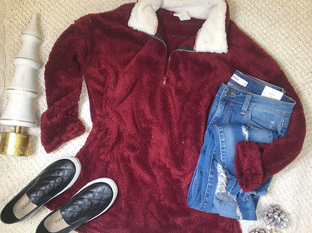 Fuzzy Pullover Sweater- Burgundy, CLOTHING, Bellamie, badhabitboutique