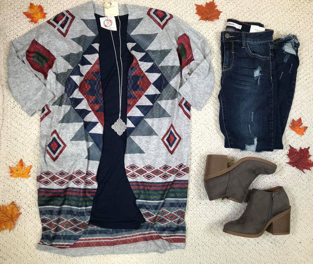 Aztec Sublimations Cardigan-Gray, CARDIGANS, Ginger G, badhabitboutique