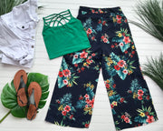 tropical navy floral bottoms