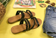 Strappy Black Sandal - Hippie-57