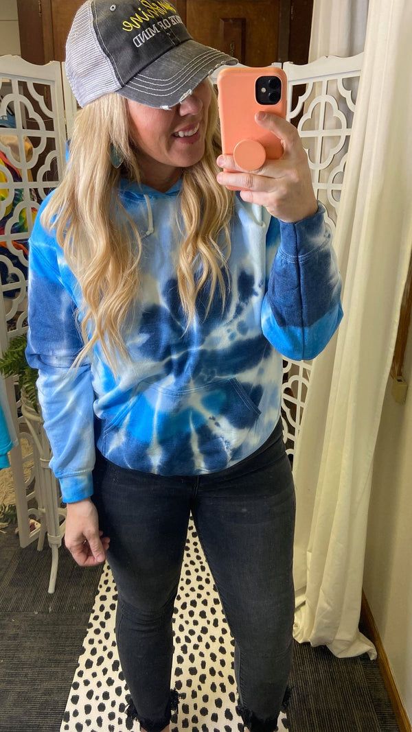 Lake Blues Tie Dye Hoodie - Final Sale, CLOTHING, SS, BAD HABIT BOUTIQUE