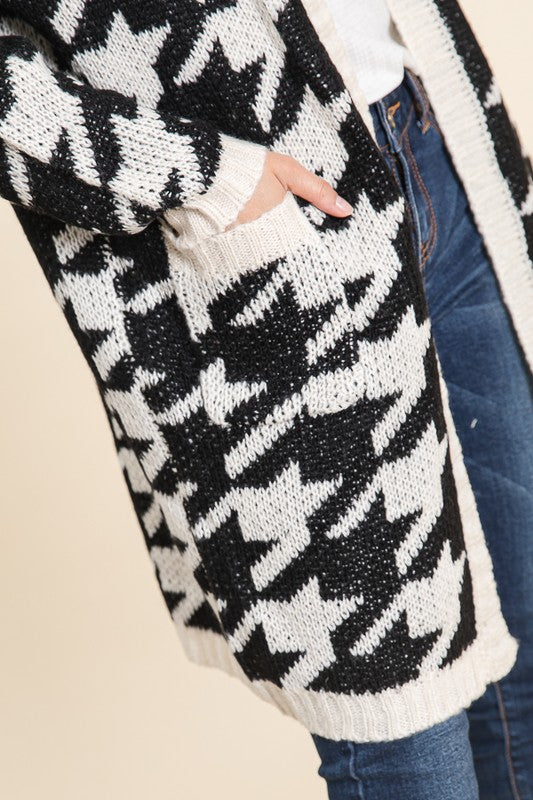 knit cardigan, houndstooth, houndstooth cardigan