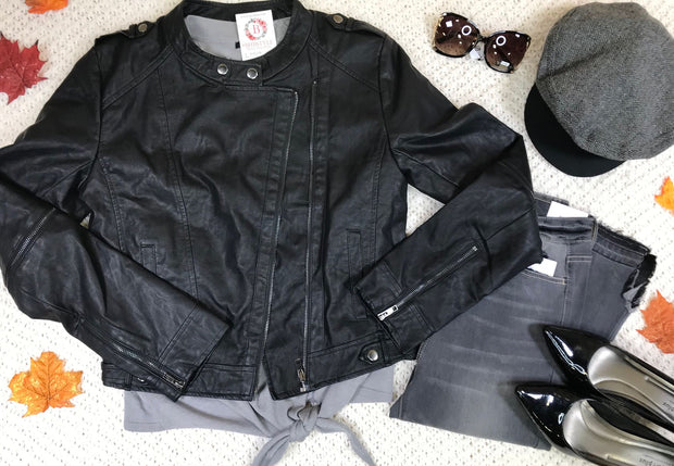 Cropped Moto Jacket-Black, OUTERWEAR, Hayden, badhabitboutique