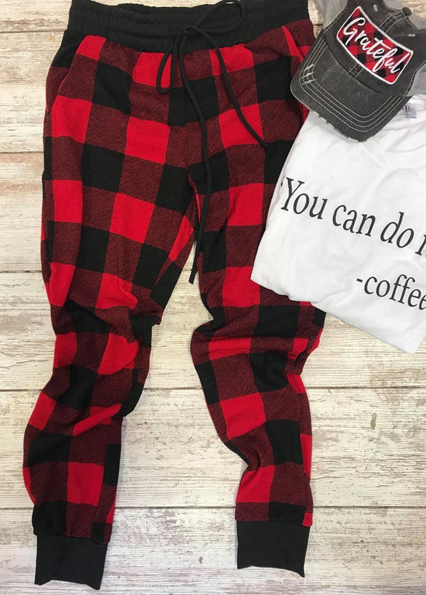 Buffalo Plaid Joggers, joggers, First Love, badhabitboutique