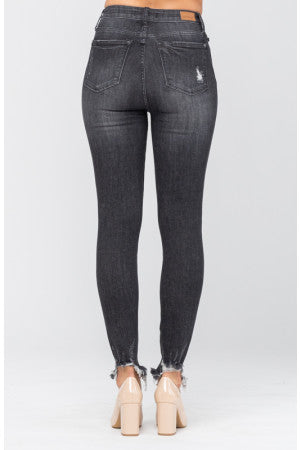 High Waist Black Button Fly Skinny Jeans - Judy Blue, CLOTHING, JUDY BLUE, BAD HABIT BOUTIQUE