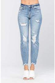 Mid Rise Distressed Bleach Splash Boyfriend Jeans - Judy Blue