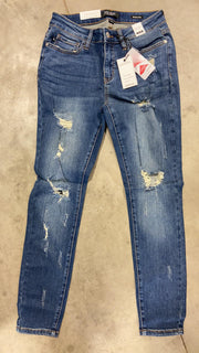 Judy Blue - Mid Rise Destroyed Skinny Jeans