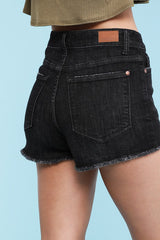 Judy Blue - Black Cut Off Denim Shorts, CLOTHING, JUDY BLUE, BAD HABIT BOUTIQUE