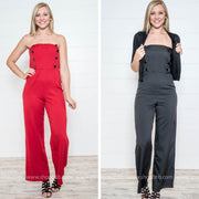 These button breasted jumpsuit is the perfect outfit to celebrate the New Year in style.