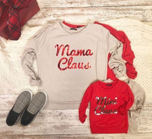 SIDEKICK COLLECTION Mama & Mini Claus Sweater-FINAL SALE, CLOTHING, sweet claire usa, BAD HABIT BOUTIQUE