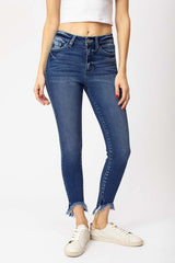 High Rise Hem Detail Ankle Skinny Jean - Kan Can, CLOTHING, KAN CAN, BAD HABIT BOUTIQUE