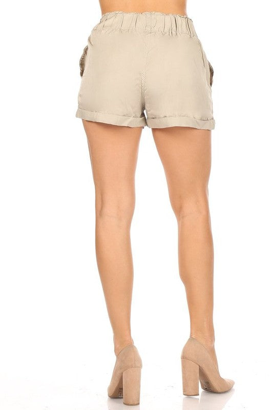 Khaki Elastic Soft Shorts | FINAL SALE, CLOTHING, celebrity pink, BAD HABIT BOUTIQUE
