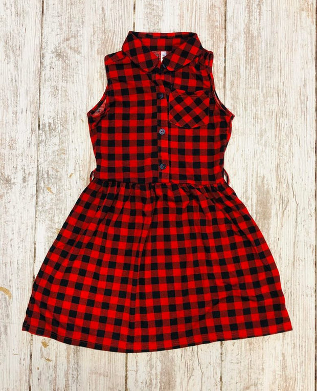 Buffalo Plaid Collared Dress Kids- Final Sale