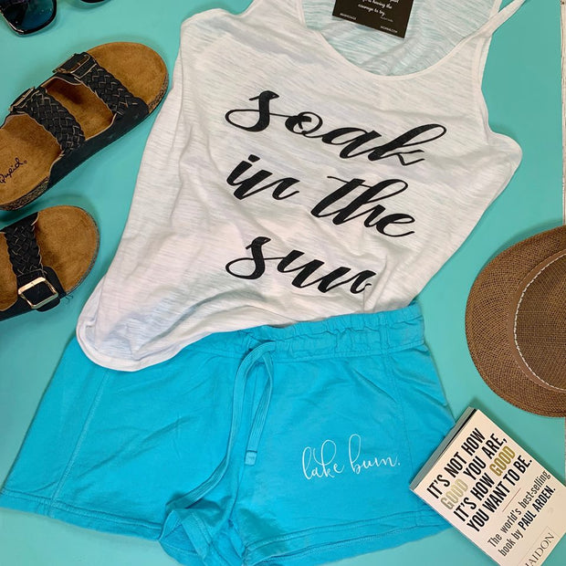 these teal lake bum sweatpant shorts are the perfect lake attire.
