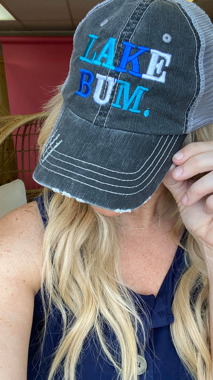 Multi-Blue Lake Bum Trucker Hat, CLOTHING, BAD HABIT APPAREL, BAD HABIT BOUTIQUE