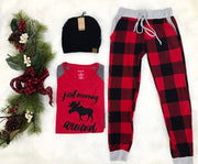 Buffalo Plaid Jogger- Black /Red, BUFFALO PLAID, LOVELY J, badhabitboutique