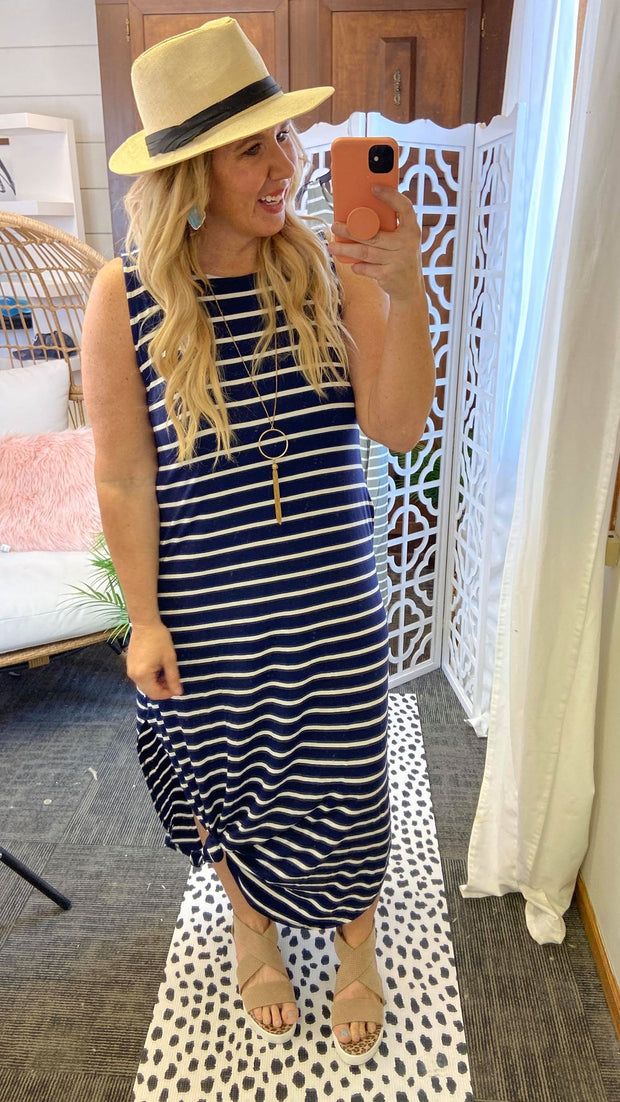 Navy striped tank dress outfit for Summer weddings.