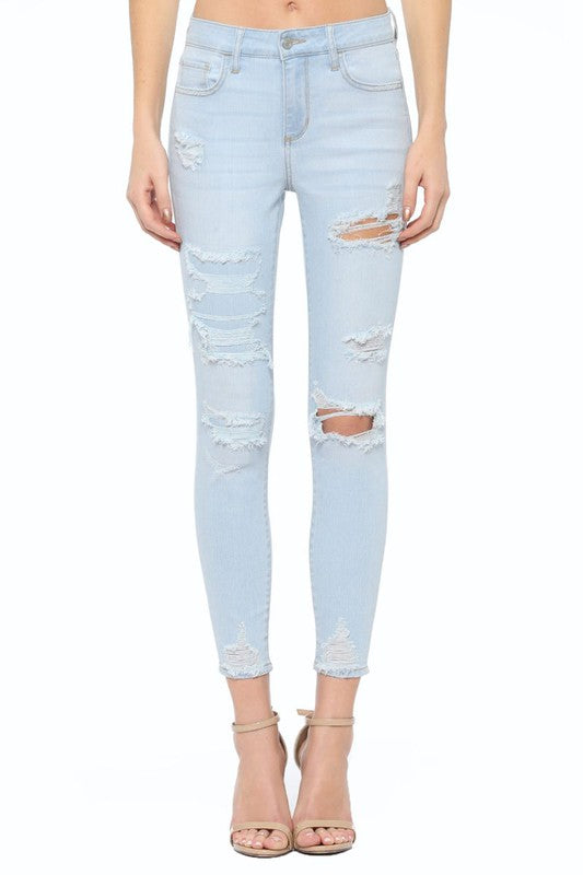 Mid Rise Distressed Crop Skinny Jeans - Cello, CLOTHING, CELLO JEANS, BAD HABIT BOUTIQUE